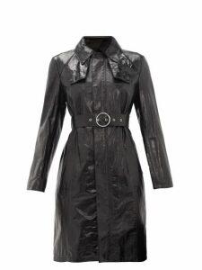 Maison Margiela - Belted Leather Trench Coat - Womens - Black