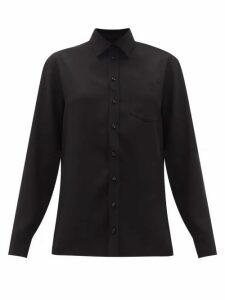 Maison Margiela - Off-the-shoulder Crepe Shirt - Womens - Black
