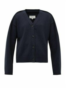 Maison Margiela - Folded-shoulder V-neck Cotton-blend Cardigan - Womens - Navy