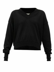 Maison Margiela - Convertible-neckline Cotton Sweater - Womens - Black