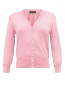Dolce & Gabbana - V-neck Knitted-silk Cardigan - Womens - Light Pink