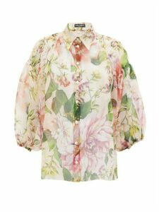 Dolce & Gabbana - Pintucked Peony-print Silk-organza Blouse - Womens - Pink Print