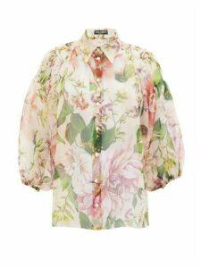 Dolce & Gabbana - Pintucked Peony-print Silk-organza Blouse - Womens - Pink Print