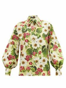 Dolce & Gabbana - Balloon-sleeve Floral-print Cotton Shirt - Womens - Yellow Print