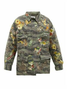 Myar - Applied Printed-patch Cotton-blend Ripstop Shirt - Womens - Green Multi