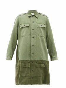 Myar - Banded-hem Longline Cotton-twill Shirt Dress - Womens - Khaki