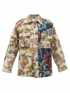 Myar - Camouflage & Hibiscus-print Cotton-blend Shirt - Womens - Green Multi