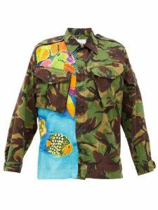 Myar - Camouflage Hawaiian-print Cotton-blend Shirt - Womens - Green Multi