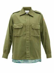 Myar - Hawaiian-panel Upcycled Cotton-blend Jacket - Womens - Khaki