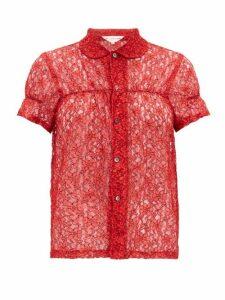 Comme Des Garçons Girl - Short-sleeved Floral-lace Shirt - Womens - Red