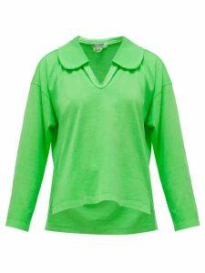 Comme Des Garçons Comme Des Garçons - Peter Pan-collar Long-sleeved Cotton T-shirt - Womens - Green