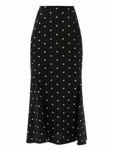 Erdem - Ivetta Ditsy-embroidered Crepe Skirt - Womens - Black White