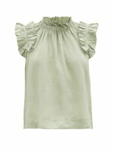 Sea - Lucy Ruffled Cotton Blouse - Womens - Light Green