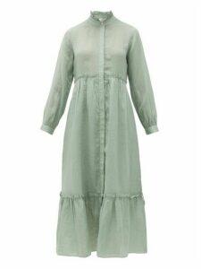 Sea - Lucy Ruffled Ramie-voile Midi Dress - Womens - Light Green