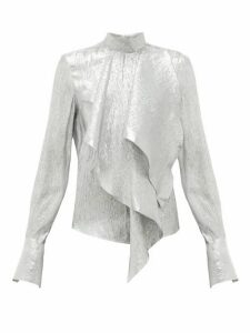 Petar Petrov - Cynthia Draped Silk-blend Lamé Blouse - Womens - Silver