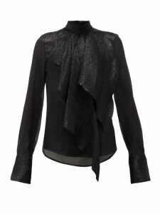 Petar Petrov - Cynthia Draped Silk-blend Lamé Blouse - Womens - Black