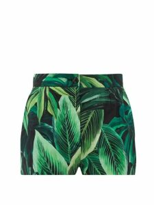 Dolce & Gabbana - Leaf-print Cotton-poplin Shorts - Womens - Green Multi