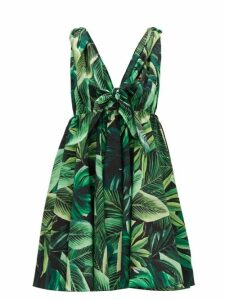 Dolce & Gabbana - Tie-strap Jungle-print Cotton Mini Dress - Womens - Green Multi