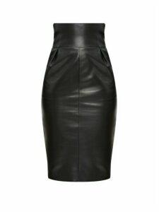 Alexandre Vauthier - High-rise Leather Pencil Skirt - Womens - Black