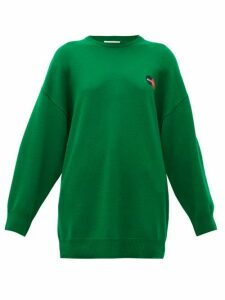 Balenciaga - Logo-embroidered Cashmere Sweater - Womens - Green