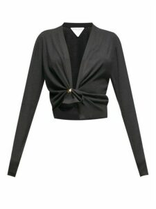 Bottega Veneta - Knotted-front Cashmere Cardigan - Womens - Black