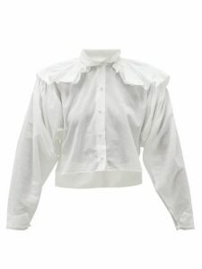 Mimi Prober - Chauncey Ruffle-shoulder Organic-cotton Blouse - Womens - White