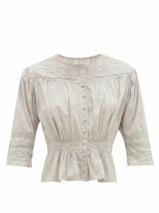 Mimi Prober - Barton Lace-trimmed Organic-cotton Blouse - Womens - Grey Multi