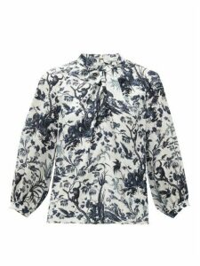 Erdem - Arlette Frida Toil De Jouy-print Silk Blouse - Womens - Blue White