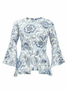 Erdem - Mattias Modotti Wallpaper-print Linen Blouse - Womens - Blue White