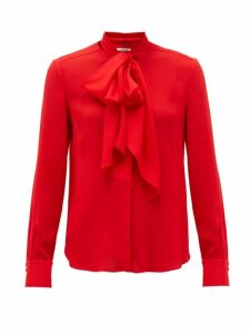 Another Tomorrow - Tie-neck Crepe Blouse - Womens - Red