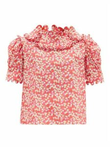 Horror Vacui - Imperia Floral-print Cotton Blouse - Womens - Red Multi