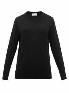Raey - High V-neck Fine-knit Cashmere Sweater - Womens - Black