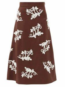 Prada - Bead-embellished Mohair-blend Midi Skirt - Womens - Brown