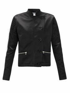 Bolt X Edie - Scramble Side-stripe Upcycled Cotton-satin Jacket - Womens - Black