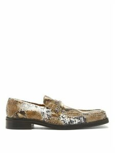 Martine Rose - Python-embossed Leather Penny Loafers - Womens - White Multi