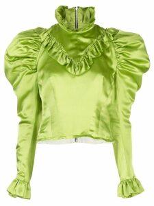 Dilara Findikoglu ruffled silk-satin blouse - Green
