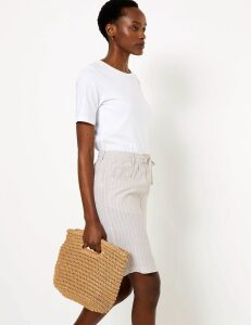 M&S Collection Linen Striped Mini A-Line Skirt