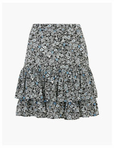 M&S Collection Floral Ruffle Detailed Mini A-Line Skirt