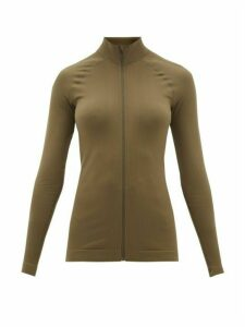 Falke - High-neck Cotton-jersey Track Top - Womens - Dark Green