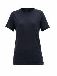 Falke - Raglan-sleeve Wool-blend T-shirt - Womens - Blue