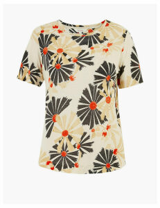 Per Una Linen Floral Print Regular Fit T-Shirt