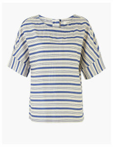 Per Una Cotton Striped Relaxed Short Sleeve Top