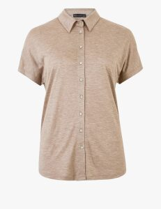 M&S Collection Straight Fit Jersey Short Sleeve Shirt