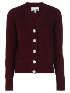 GANNI crystal button cardigan - PURPLE