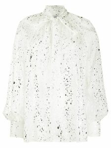 MSGM sketch print pussy-bow blouse - White