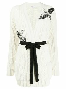 RedValentino bird embroidered cardigan - NEUTRALS