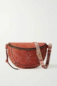 Isabel Marant - Skano Jacquard-trimmed Studded Embroidered Suede Belt Bag - Tan