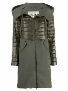 Herno quilted hooded mid-length coat - Green