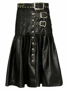 Chopova Lowena two-tone kilt skirt - Black