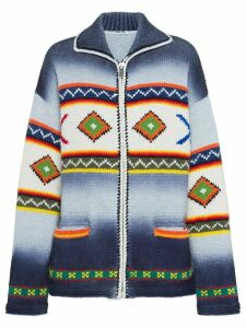 Miu Miu geometric pattern zipped cardigan - Blue